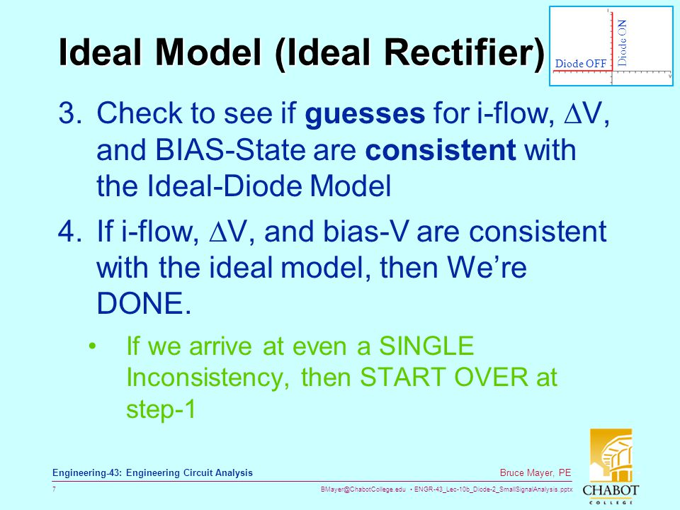 BMayer@ChabotCollege.edu ENGR-43_Lec-10b_Diode-2_SmallSignalAnalysis.pptx 18 Bruce Mayer, PE Engineering-43: Engineering Circuit Analysis Offset & Linear Models  The Offset Model  Better than Ideal, but no account of Forward-Slope  The Linear Model  The model eqn:  Yet more accurate, but also does not account for Rev-Bias Brk-Down