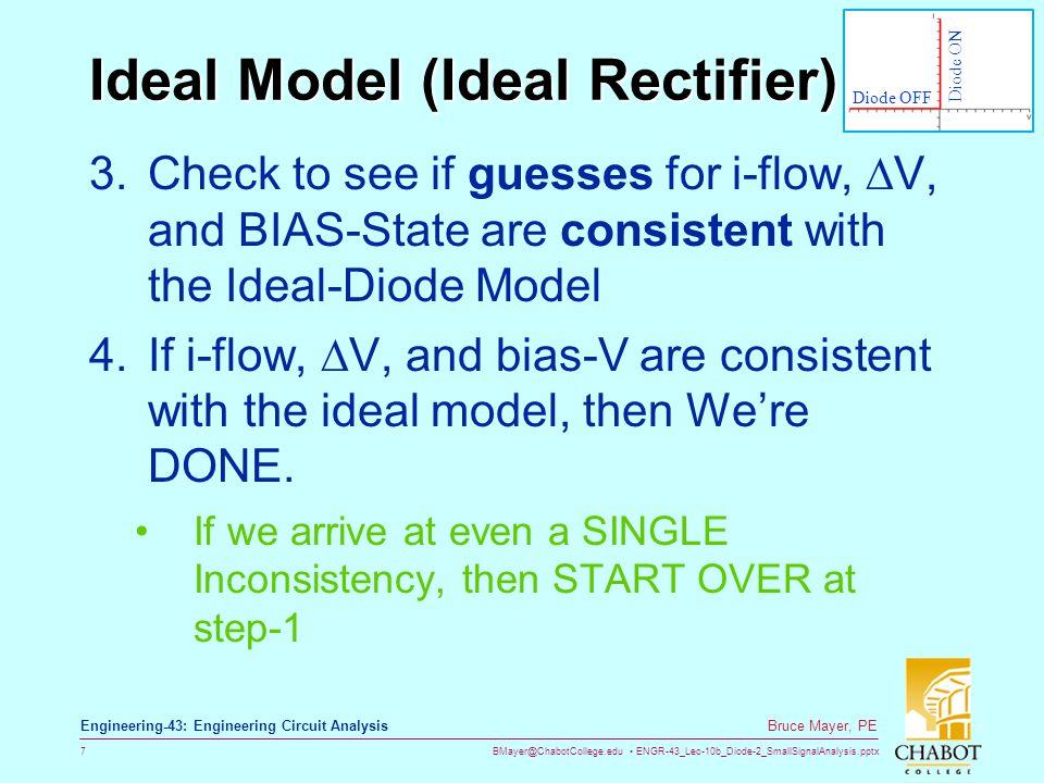 BMayer@ChabotCollege.edu ENGR-43_Lec-10b_Diode-2_SmallSignalAnalysis.pptx 7 Bruce Mayer, PE Engineering-43: Engineering Circuit Analysis Ideal Model (
