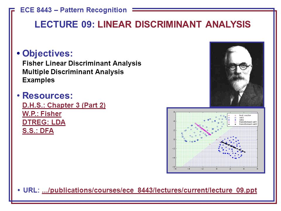 ECE 8443: Lecture 09, Slide 1 Component Analysis (Review) Previously introduced as a whitening transformation .