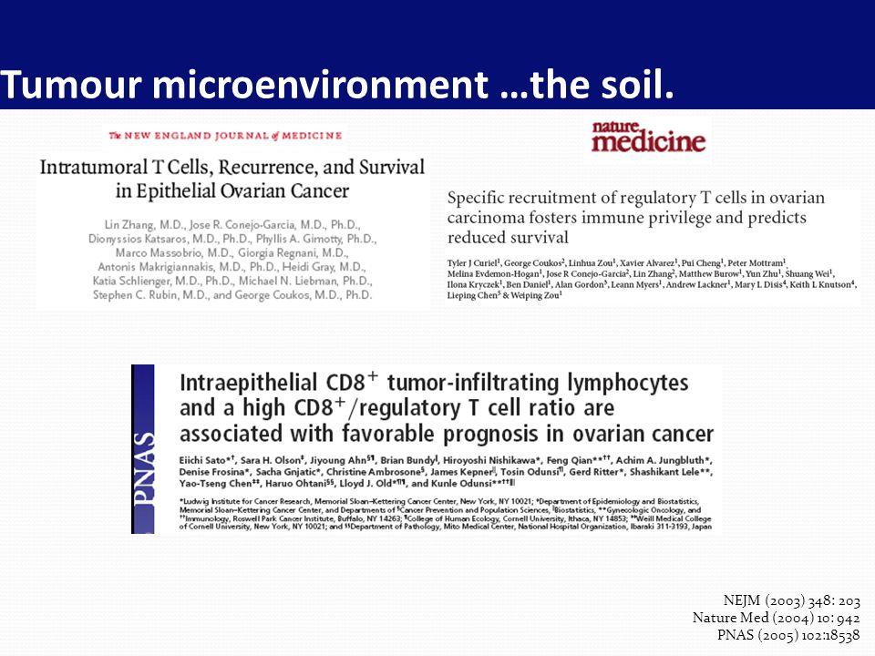 Tumour microenvironment …the soil. NEJM (2003) 348: 203 Nature Med (2004) 10: 942 PNAS (2005) 102:18538