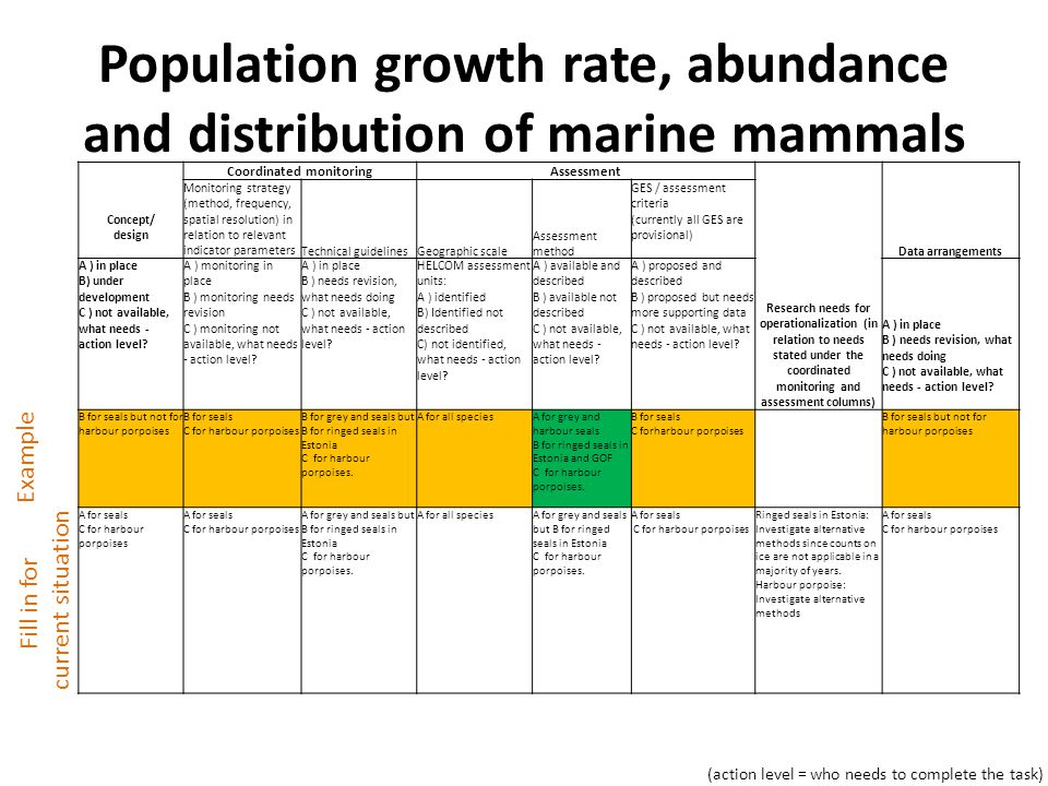 Population growth rate, abundance and distribution of marine mammals Concept/ design Coordinated monitoringAssessment Research needs for operationalization (in relation to needs stated under the coordinated monitoring and assessment columns) Data arrangements Monitoring strategy (method, frequency, spatial resolution) in relation to relevant indicator parametersTechnical guidelinesGeographic scale Assessment method GES / assessment criteria (currently all GES are provisional) A ) in place B) under development C ) not available, what needs - action level.