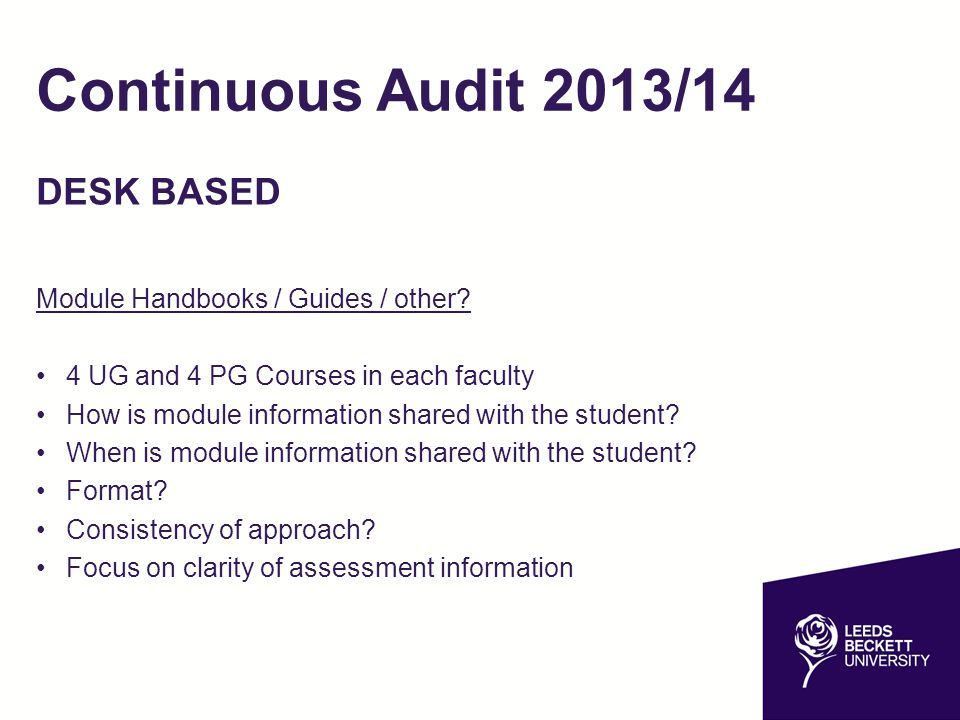 Continuous Audit 2013/14 DESK BASED Module Handbooks / Guides / other.