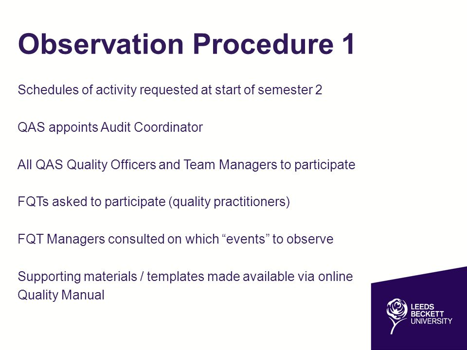 Observation Procedure 1 Schedules of activity requested at start of semester 2 QAS appoints Audit Coordinator All QAS Quality Officers and Team Managers to participate FQTs asked to participate (quality practitioners) FQT Managers consulted on which events to observe Supporting materials / templates made available via online Quality Manual