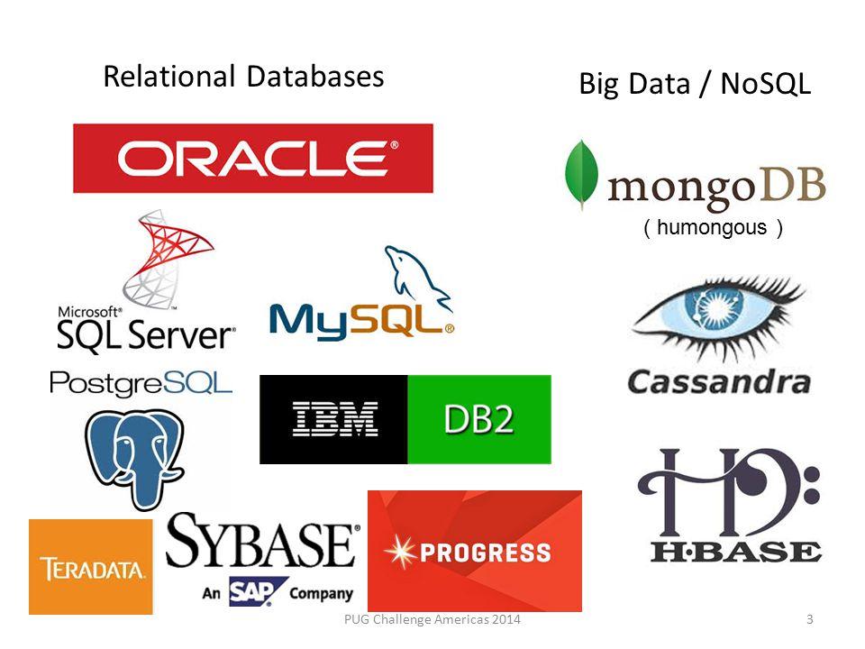 NoSQL Types PUG Challenge Americas 20144 Key-value storeAmazon DynamoDB, Oracle NoSQL Column StoreCassandra, Hbase, BigTable Document databasesMongoDB (JSON) Graph storesNeo4j, HyperGraphDB