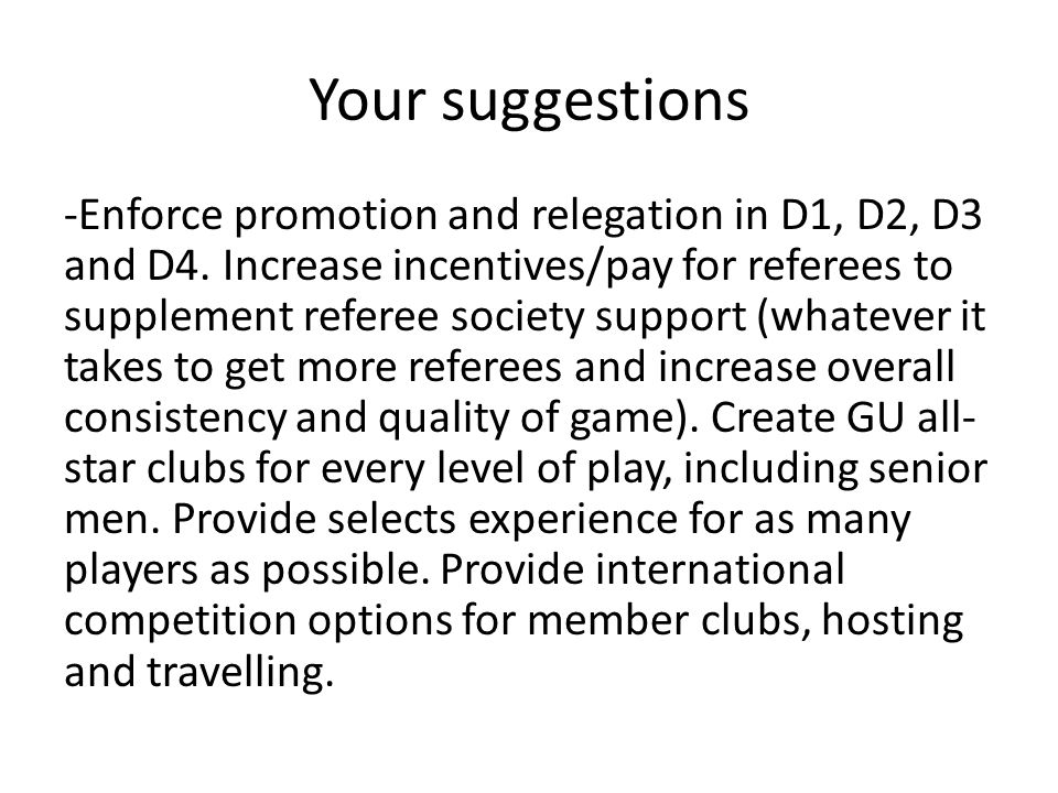 Your suggestions -Enforce promotion and relegation in D1, D2, D3 and D4.