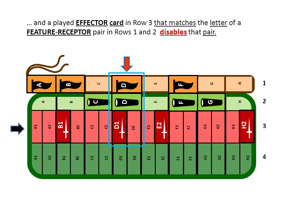 … and a played EFFECTOR card in Row 3 that matches the letter of a FEATURE-RECEPTOR pair in Rows 1 and 2 disables that pair. D B F D C G F A F B1 D1 E