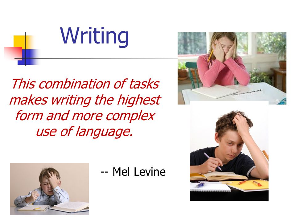 Writing.. From the early formation of letters to crafting an essay, writing involves perhaps more sub skills than any other academic task. To write we