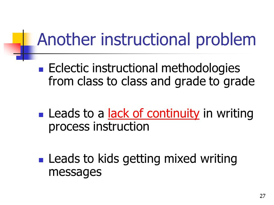 26 Graham & Harris (2005) have found.. Most elementary teachers advocate structure/routine in teaching the writing process (i.e., 'Writer's Workshop'