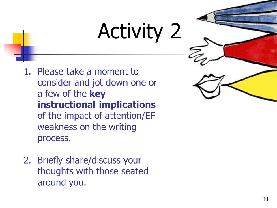 43 Recursive Writing Cycle (As Impacted by Executive Dysfunction) Writing Phase EF weakness land a lack of mechanical skill Automaticity contribute to