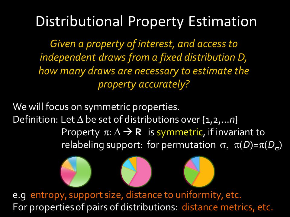 Given a property of interest, and access to independent draws from a fixed distribution D, how many draws are necessary to estimate the property accurately.