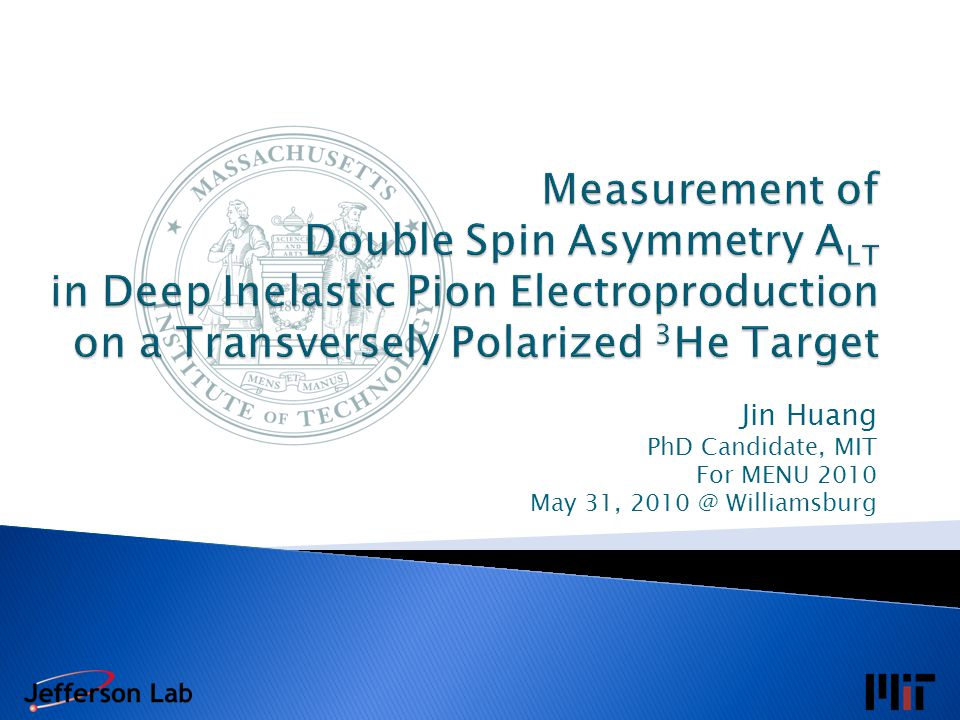  High luminosity: L(n) = 10 36 cm -2 s -1  Record high 65% polarization (preliminary) in beam with automatic spin flip / 20min MENU 2010 Jin Huang 12 Beam Polarimetry Luminosity Monitor