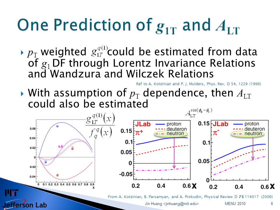  p T weighted could be estimated from data of g 1 DF through Lorentz Invariance Relations and Wandzura and Wilczek Relations Ref to A.