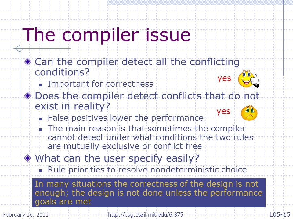 The compiler issue Can the compiler detect all the conflicting conditions.