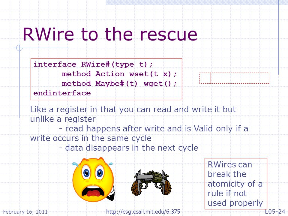 RWire to the rescue interface RWire#(type t); method Action wset(t x); method Maybe#(t) wget(); endinterface Like a register in that you can read and write it but unlike a register - read happens after write and is Valid only if a write occurs in the same cycle - data disappears in the next cycle RWires can break the atomicity of a rule if not used properly February 16, 2011 L05-24http://csg.csail.mit.edu/6.375