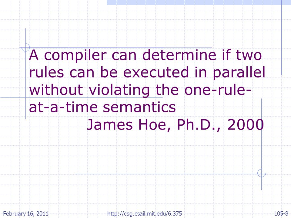 A compiler can determine if two rules can be executed in parallel without violating the one-rule- at-a-time semantics James Hoe, Ph.D., 2000 February 16, 2011L05-8 http://csg.csail.mit.edu/6.375