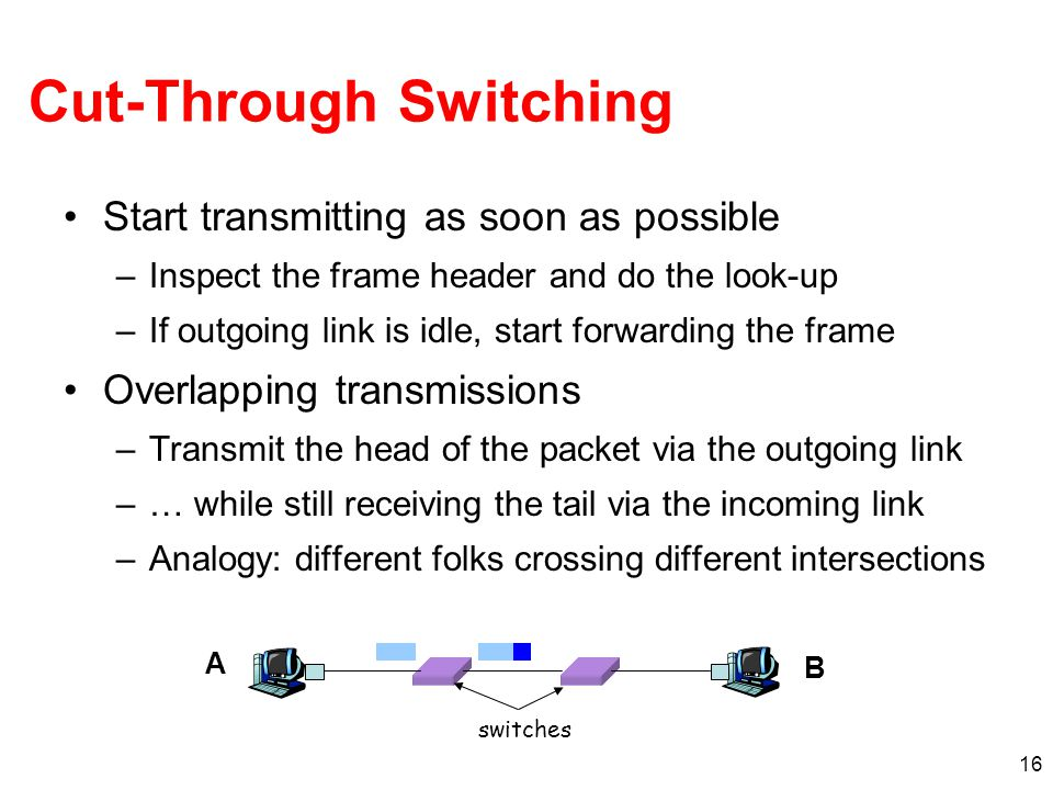16 Cut-Through Switching Start transmitting as soon as possible –Inspect the frame header and do the look-up –If outgoing link is idle, start forwardi
