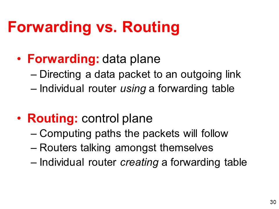 30 Forwarding vs. Routing Forwarding: data plane –Directing a data packet to an outgoing link –Individual router using a forwarding table Routing: con