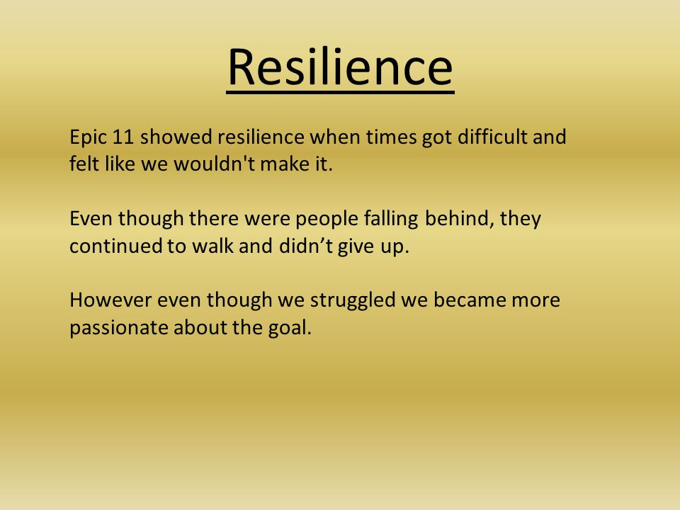Resilience Epic 11 showed resilience when times got difficult and felt like we wouldn't make it. Even though there were people falling behind, they co