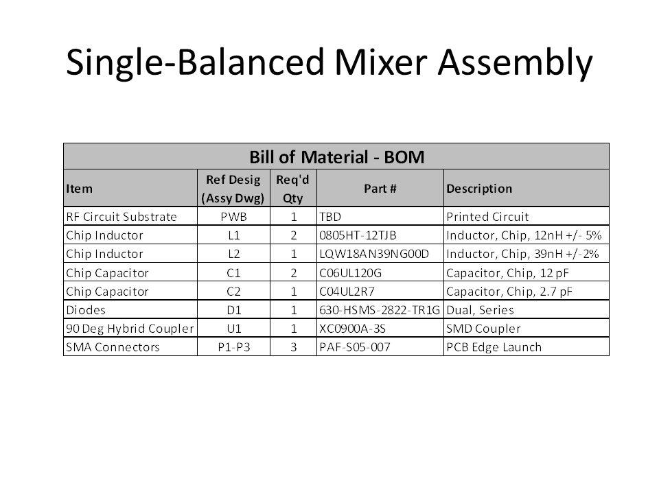 Single-Balanced Mixer Assembly