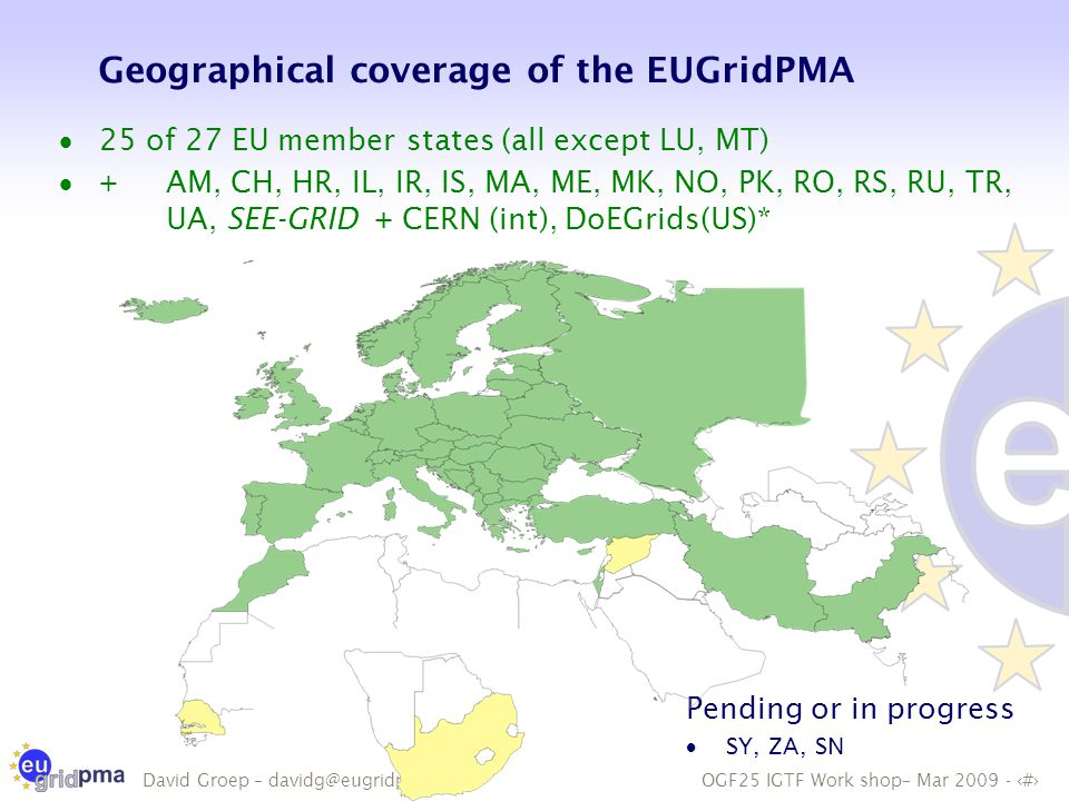 OGF25 IGTF Work shop– Mar 2009 - 3 David Groep – davidg@eugridpma.org Geographical coverage of the EUGridPMA  25 of 27 EU member states (all except LU, MT)  +AM, CH, HR, IL, IR, IS, MA, ME, MK, NO, PK, RO, RS, RU, TR, UA, SEE-GRID + CERN (int), DoEGrids(US)* Pending or in progress  SY, ZA, SN