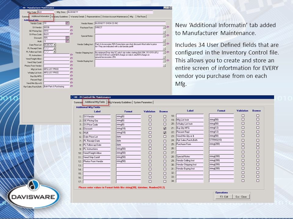 New 'Additional Informatin' tab added to Manufacturer Maintenance.