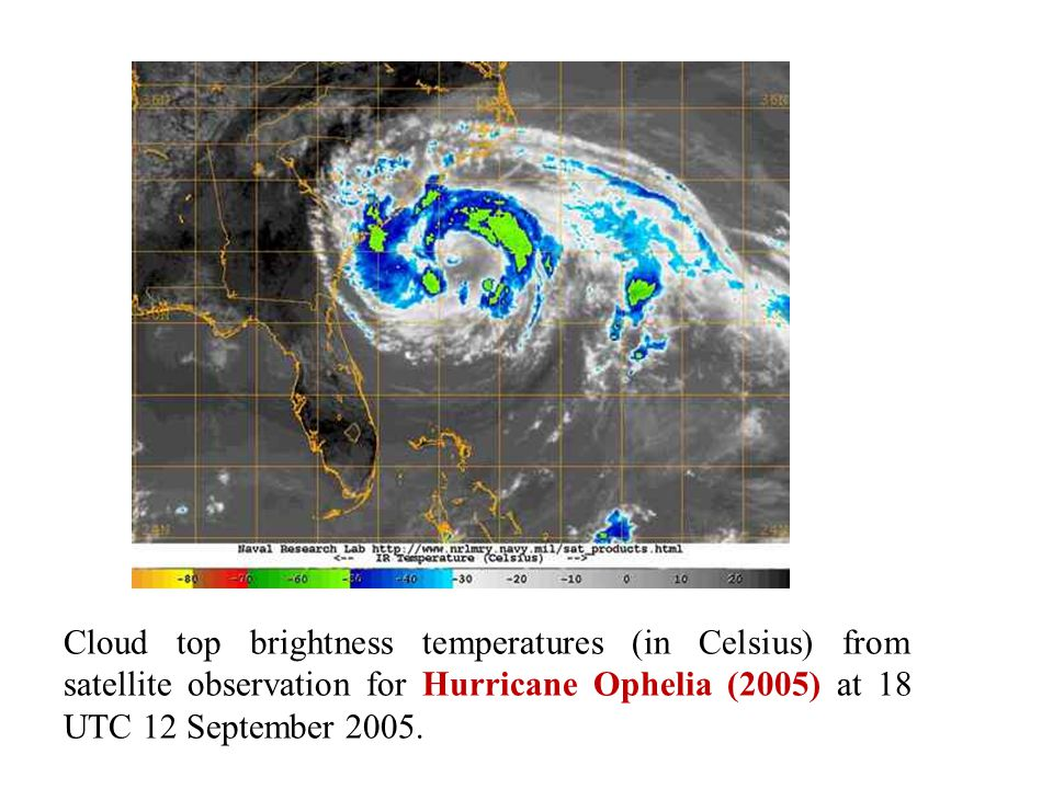 Cloud top brightness temperatures (in Celsius) from satellite observation for Hurricane Ophelia (2005) at 18 UTC 12 September 2005.