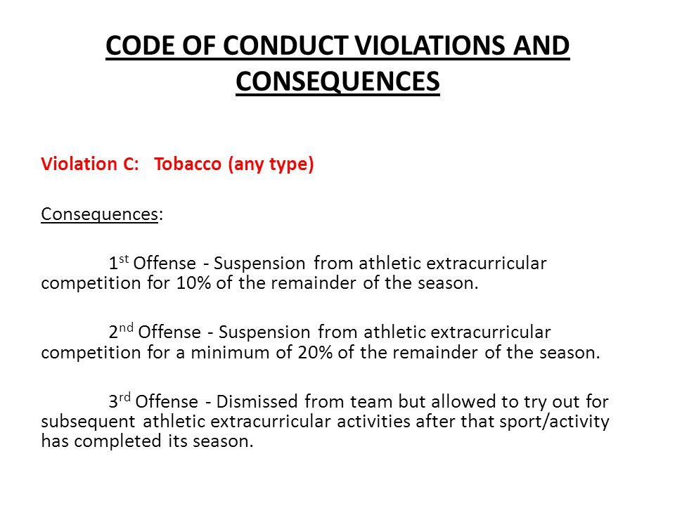 CODE OF CONDUCT VIOLATIONS AND CONSEQUENCES Violation C: Tobacco (any type) Consequences: 1 st Offense - Suspension from athletic extracurricular comp