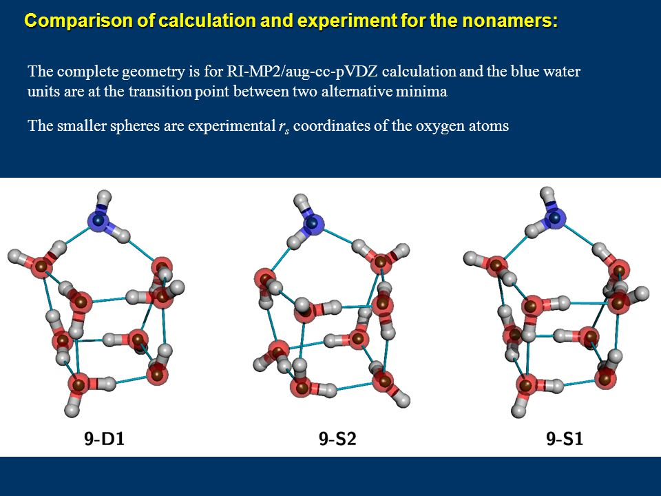 Comparison of calculation and experiment for the nonamers: The complete geometry is for RI-MP2/aug-cc-pVDZ calculation and the blue water units are at