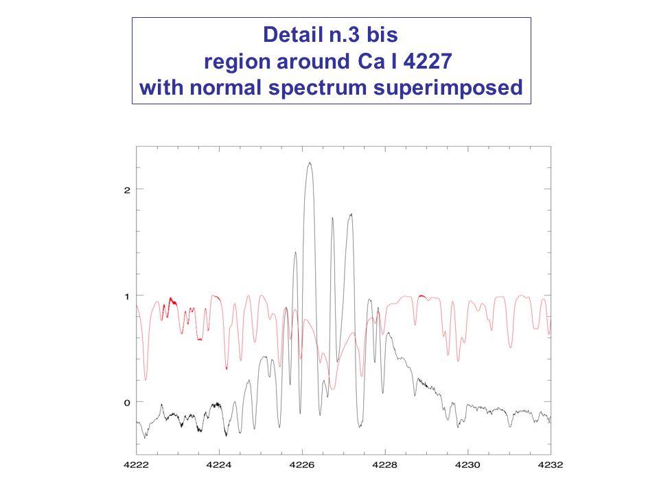 Detail n.3 bis region around Ca I 4227 with normal spectrum superimposed
