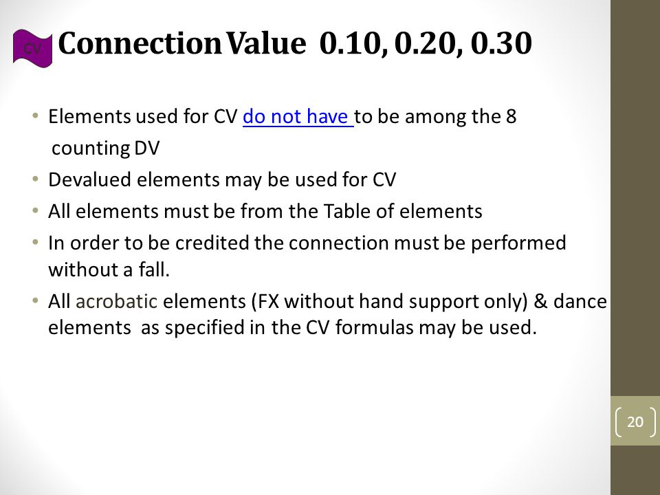 Connection Value 0.10, 0.20, 0.30 Elements used for CV do not have to be among the 8 counting DV Devalued elements may be used for CV All elements must be from the Table of elements In order to be credited the connection must be performed without a fall.