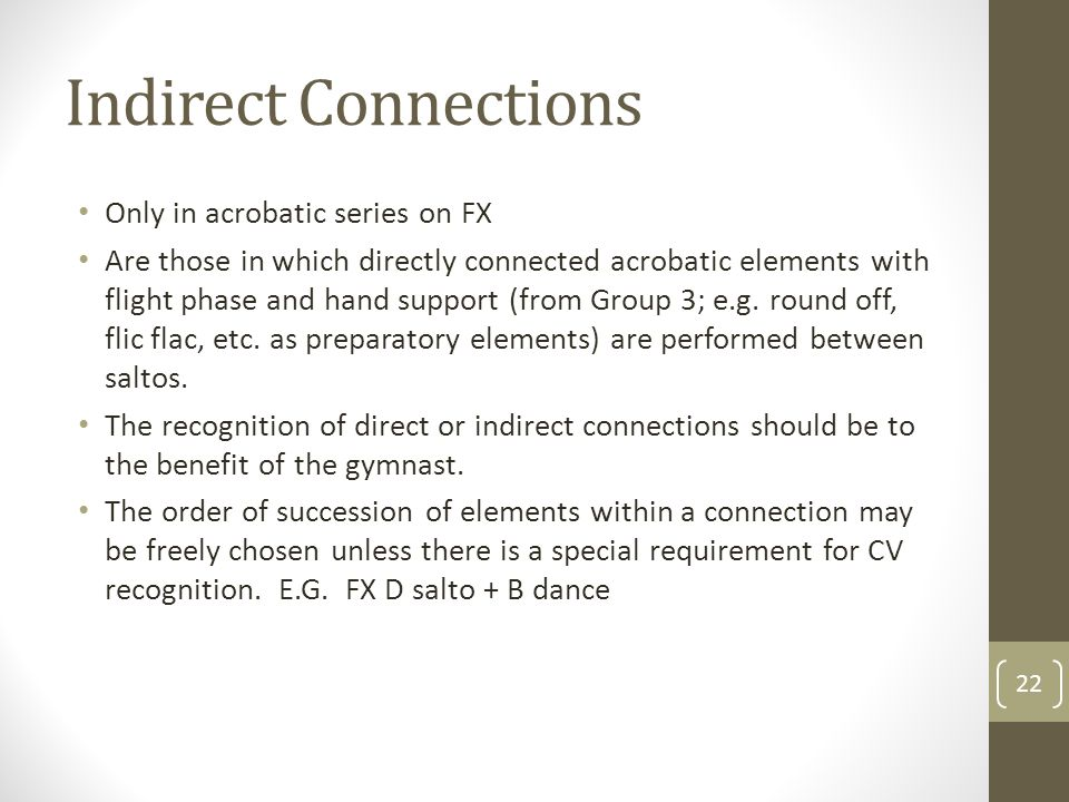 Indirect Connections Only in acrobatic series on FX Are those in which directly connected acrobatic elements with flight phase and hand support (from Group 3; e.g.