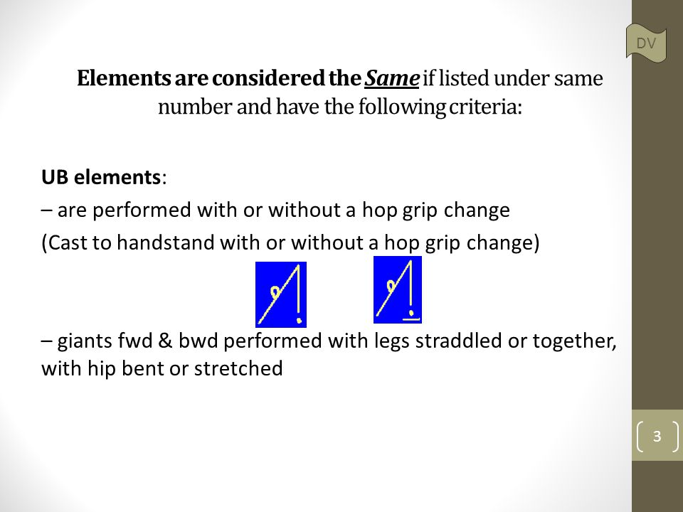 Elements are considered the Same if listed under same number and have the following criteria: UB elements: – are performed with or without a hop grip change (Cast to handstand with or without a hop grip change) – giants fwd & bwd performed with legs straddled or together, with hip bent or stretched 3 DV