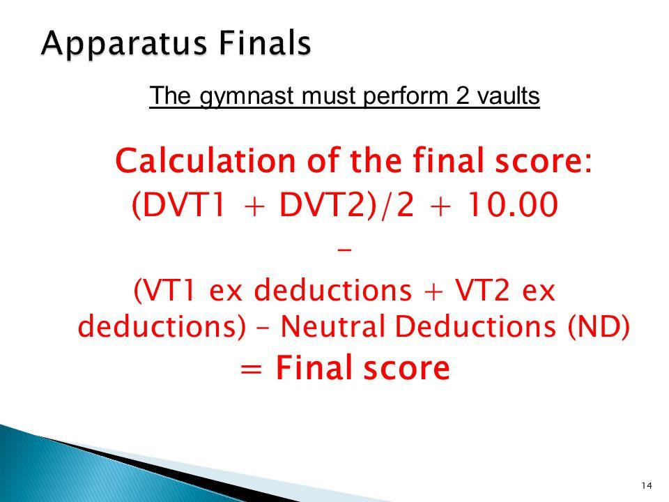 The gymnast must perform 2 vaults Calculation of the final score: (DVT1 + DVT2)/2 + 10.00 – (VT1 ex deductions + VT2 ex deductions) – Neutral Deductions (ND) = Final score 14