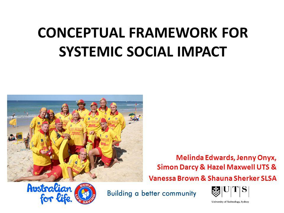 CONCEPTUAL FRAMEWORK FOR SYSTEMIC SOCIAL IMPACT Melinda Edwards, Jenny Onyx, Simon Darcy & Hazel Maxwell UTS & Vanessa Brown & Shauna Sherker SLSA