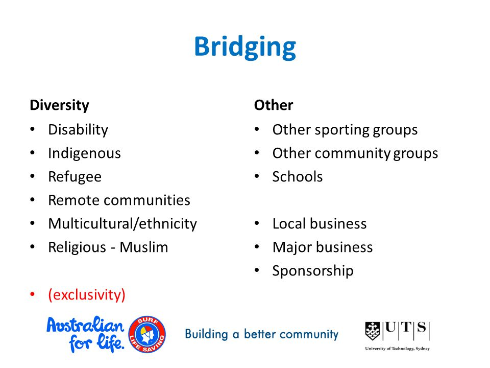 Bridging Diversity Disability Indigenous Refugee Remote communities Multicultural/ethnicity Religious - Muslim (exclusivity) Other Other sporting grou