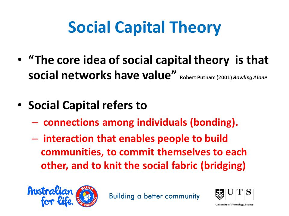 "Social Capital Theory ""The core idea of social capital theory is that social networks have value"" Robert Putnam (2001) Bowling Alone Social Capital re"