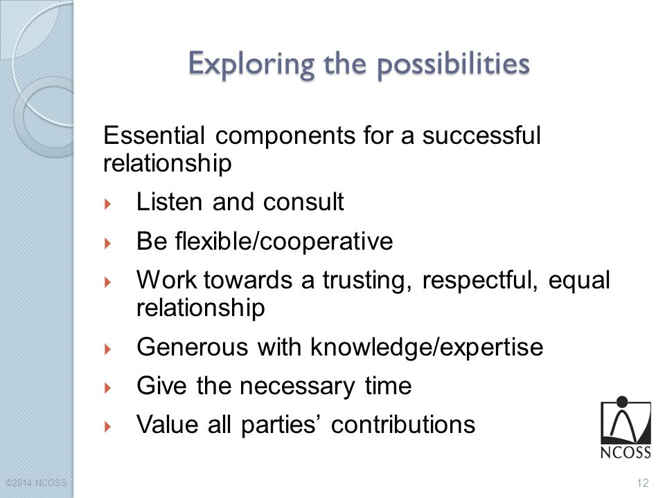 Exploring the possibilities ©2014 NCOSS 12 Essential components for a successful relationship  Listen and consult  Be flexible/cooperative  Work towards a trusting, respectful, equal relationship  Generous with knowledge/expertise  Give the necessary time  Value all parties' contributions