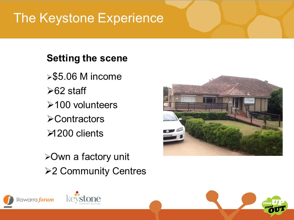 The Keystone Experience HACC services :  Shopping and Social Outings (Social Support)  One on one social support  Meals Delivery (frozen)  Centre based day care groups – dementia and stroke  Transport that goes along with the CBDC  Domestic Assistance  Internet shopping  Home modifications and maintenance – including the higher level home modifications for the region  Volunteer Recruitment Agency  HACC Training