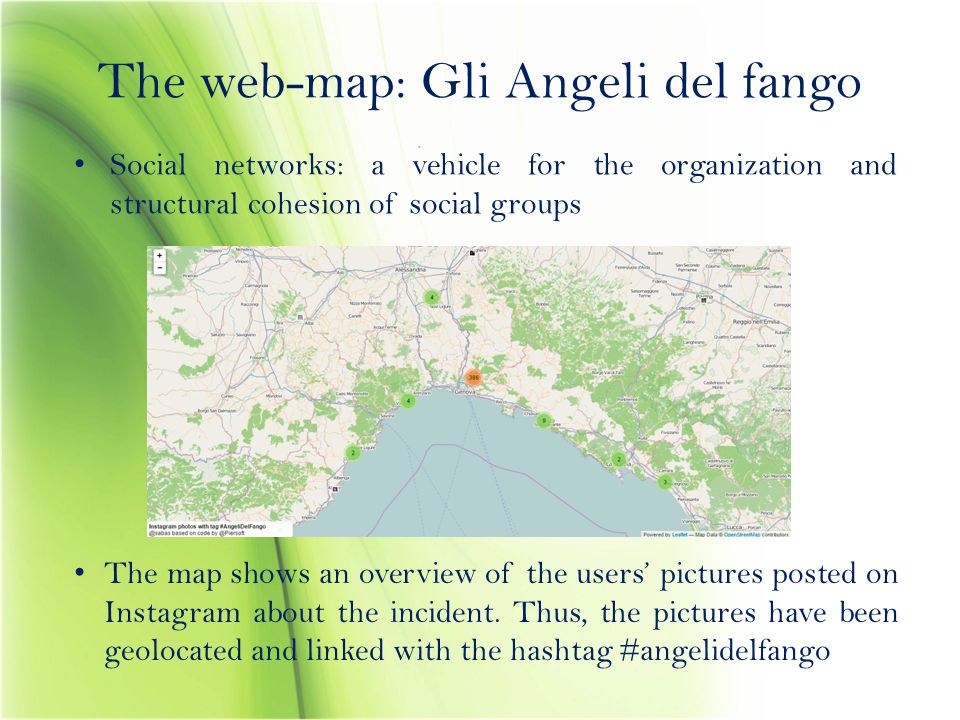 The web-map: Gli Angeli del fango Social networks: a vehicle for the organization and structural cohesion of social groups The map shows an overview o