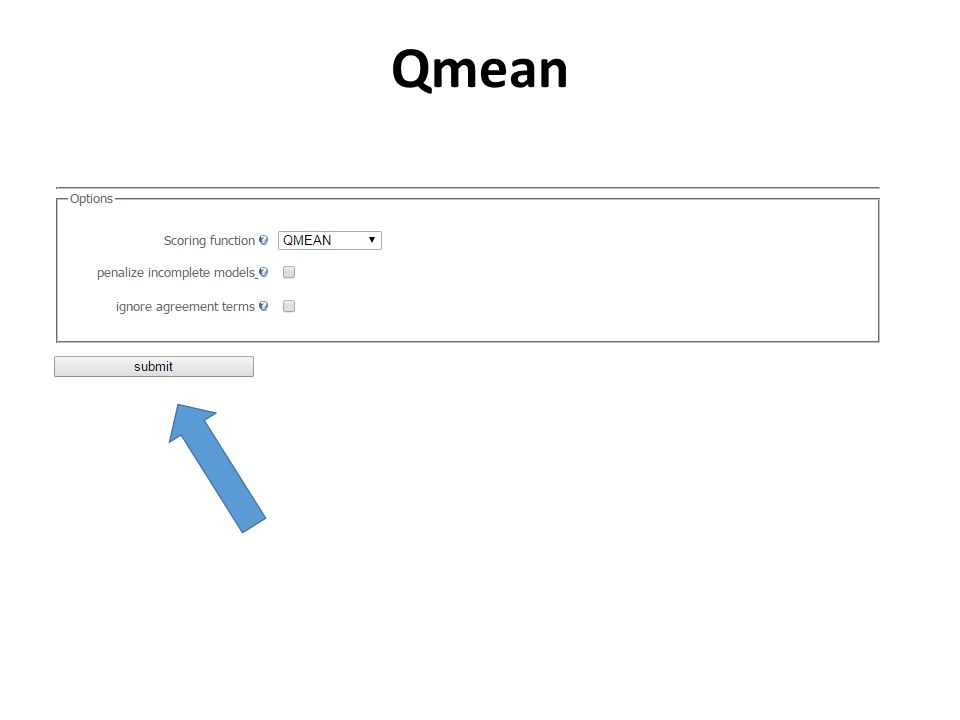 Qmean - Results The estimated residue error is visualised using a colour gradient from blue (more reliable regions) to red (potentially unreliable regions, estimated error above 3.5 Å).