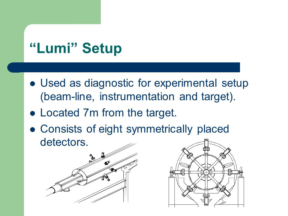 """Lumi"" Setup Used as diagnostic for experimental setup (beam-line, instrumentation and target). Located 7m from the target. Consists of eight symmetri"