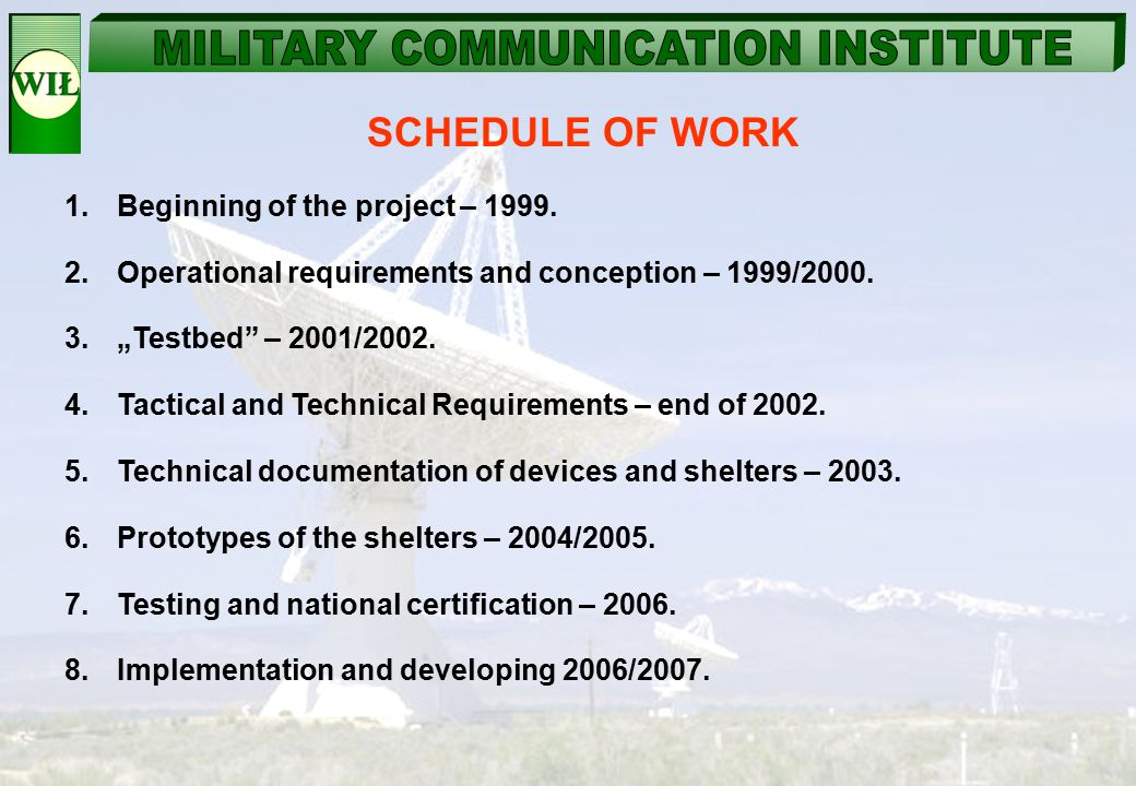 "SCHEDULE OF WORK 1.Beginning of the project – 1999. 2.Operational requirements and conception – 1999/2000. 3.""Testbed"" – 2001/2002. 4.Tactical and Tec"