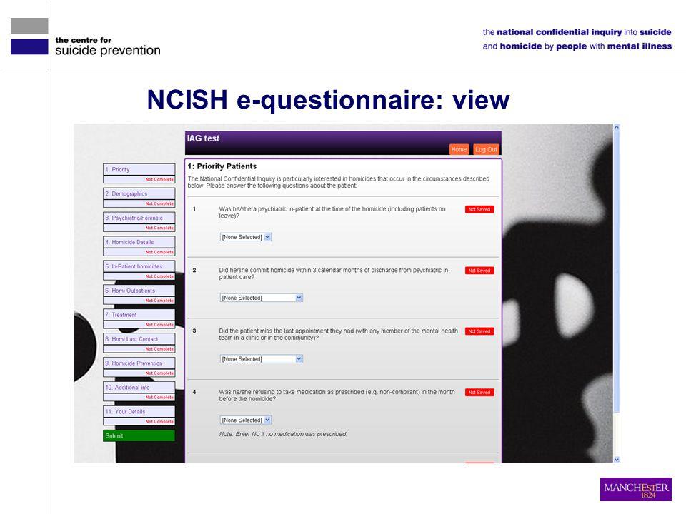 NCISH e-questionnaire: view