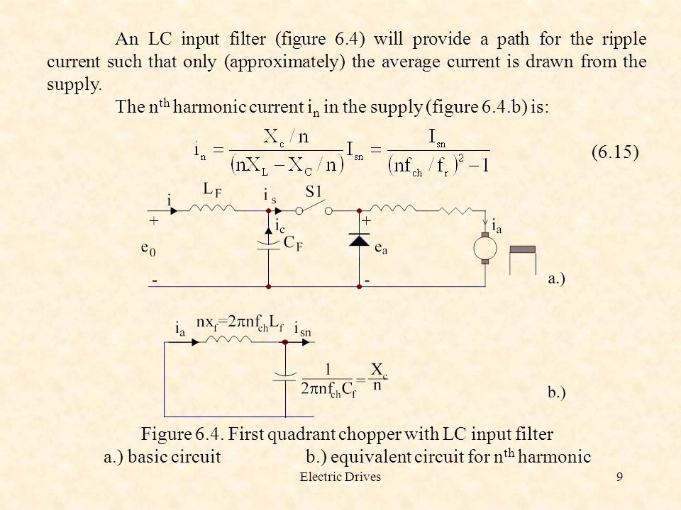 Electric Drives9 An LC input filter (figure 6.4) will provide a path for the ripple current such that only (approximately) the average current is draw