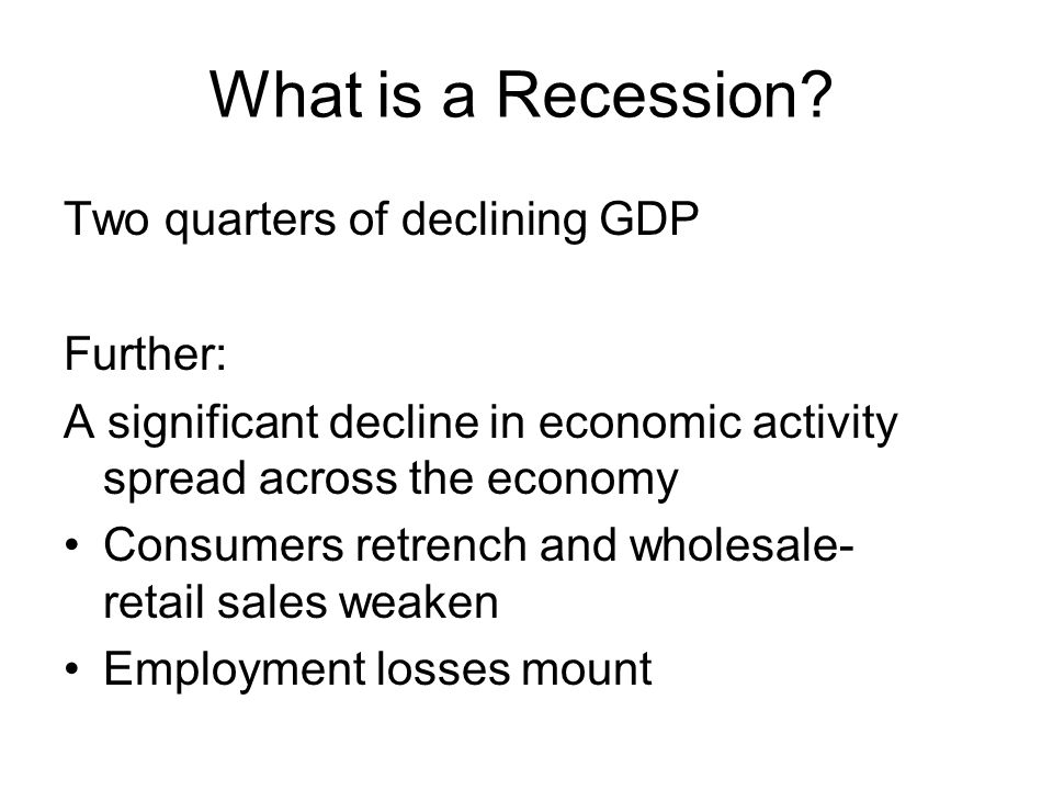 The Forecast for the Real U.S. Economy Recession …