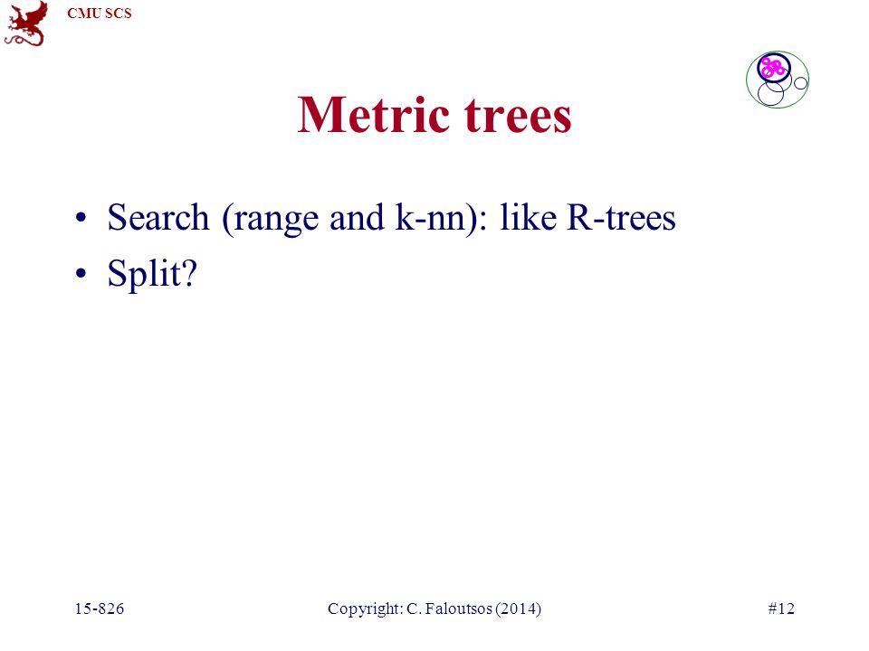 CMU SCS 15-826Copyright: C. Faloutsos (2014)#12 Search (range and k-nn): like R-trees Split.