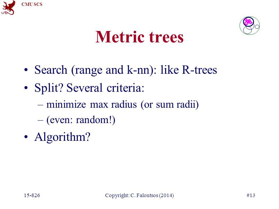 CMU SCS 15-826Copyright: C. Faloutsos (2014)#13 Search (range and k-nn): like R-trees Split.