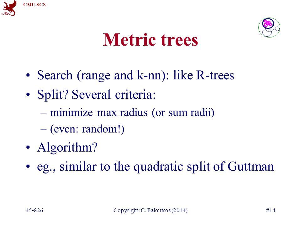 CMU SCS 15-826Copyright: C. Faloutsos (2014)#14 Search (range and k-nn): like R-trees Split.