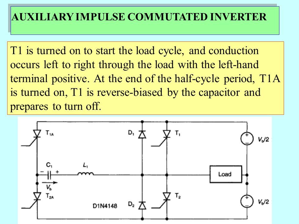 AUXILIARY IMPULSE COMMUTATED INVERTER The capacitor meanwhile recharges to opposite polarity, through the load first, and then through D1 when T1 turns off.
