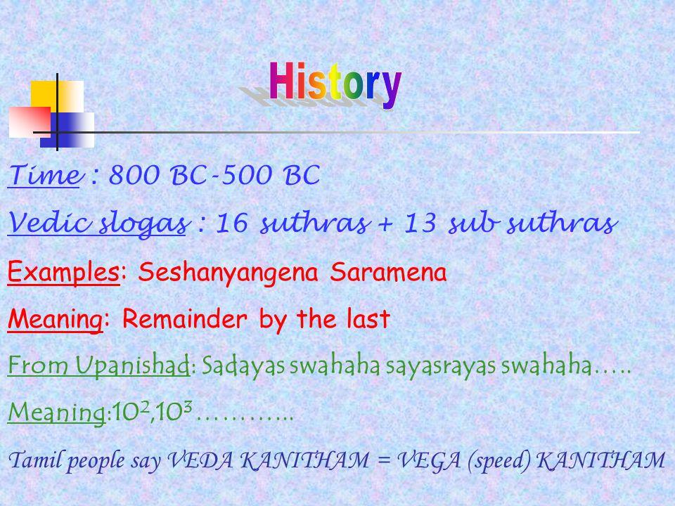 Time : 800 BC-500 BC Vedic slogas : 16 suthras + 13 sub suthras Examples: Seshanyangena Saramena Meaning: Remainder by the last From Upanishad: Sadayas swahaha sayasrayas swahaha…..